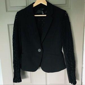 Bloomingdales AQUA Black Lace Blazer Small
